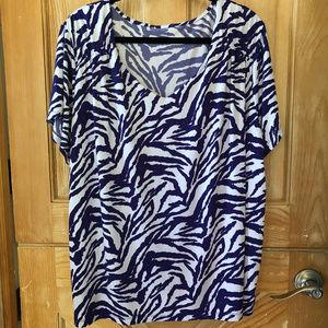 Navy / White Tiger Stripe Dressy Tee size 3X